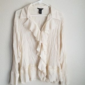 Sunny Taylor Ruffled Button Up Top